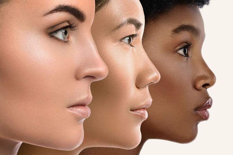 three women with different skin complexions